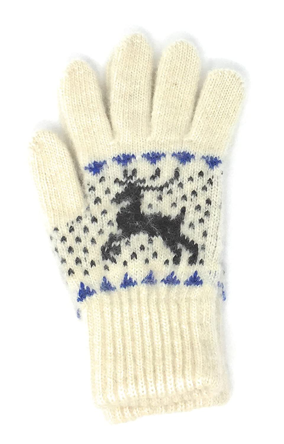 Reindeer Design Cute Natural Lambswool Warm Cozy Winter Gloves by Granny's Knitwear Granny' s Knitwear