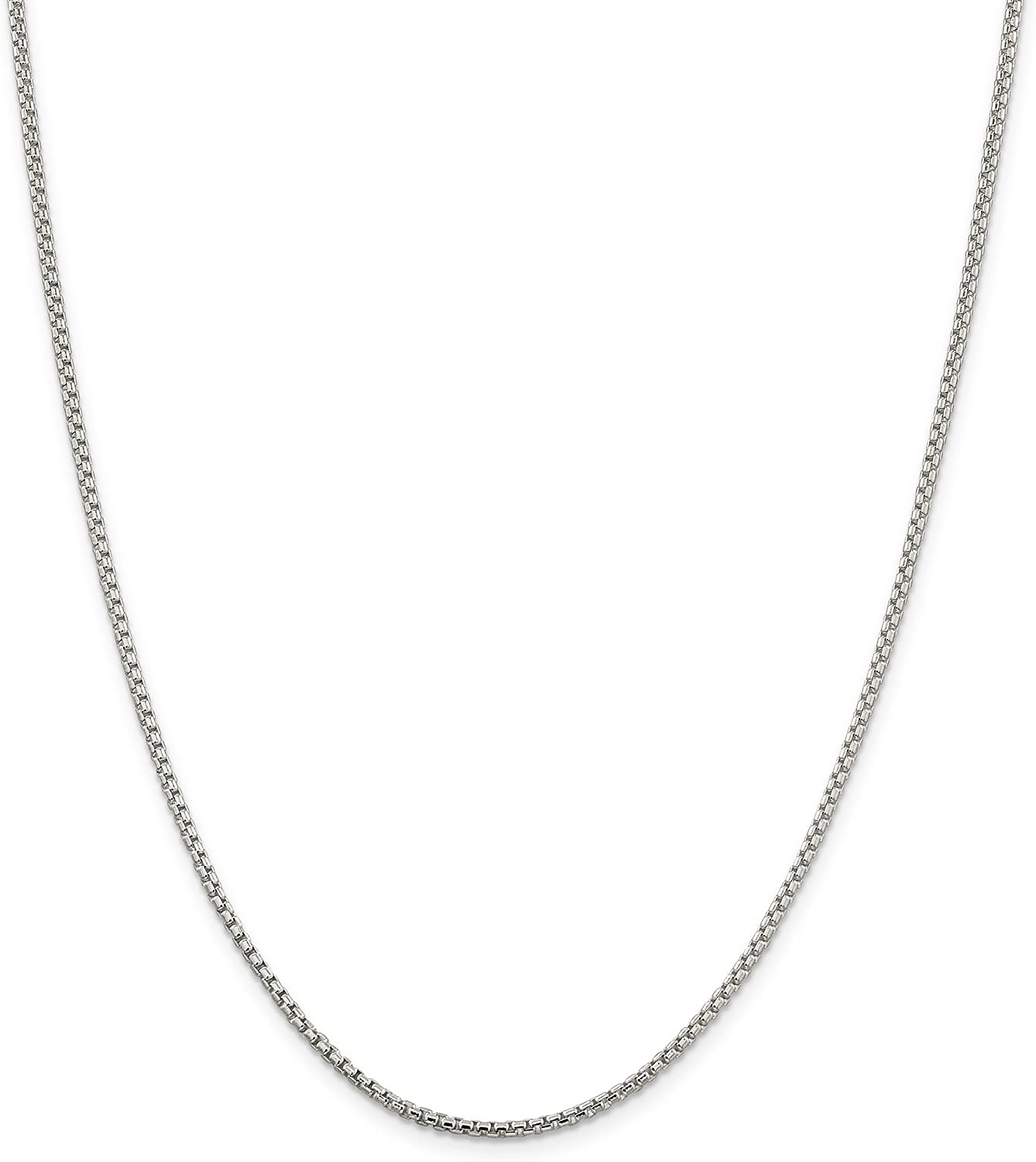 NYC Sterling Unisex Solid Italian 2mm Round Box Chain in Sterling Silver