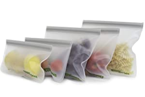 Envirogen Reusable Storage Bags (5 Pack) for Food | Kids Snacks | Ziplock | Freezer | Lunch Sandwiches | Fruit | EXTRA THICK | Leakproof | Make-up | Travel Items | Meal Prep | Home Organization