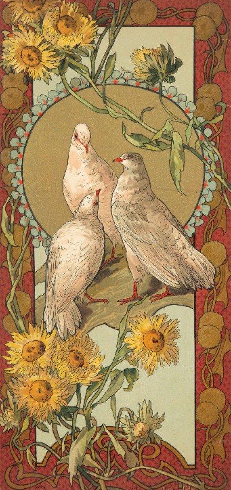 Oiseaux Et Fleurs styliseesヴィンテージポスター(アーティスト:ゴーレイ)スイスC。1896 9 x 12 Art Print LANT-74073-9x12 B01DQ0O4TI  9 x 12 Art Print