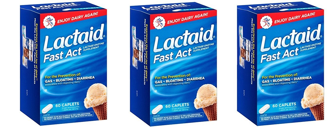Lactaid, Fast Act Caplets, 60 bQZcho Count (Pack of 3)