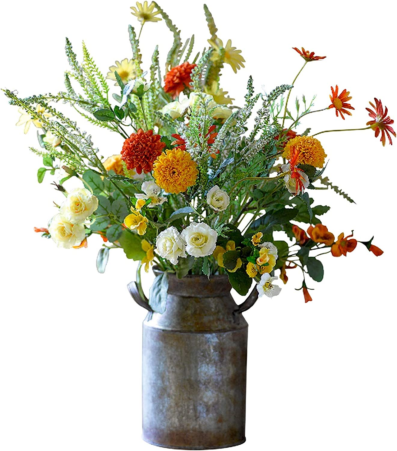 Bloom Artificial Orange Red White Marigold Flower Arrangement Faux Silk Flowers That Look Real Rustic Wedding Flowers Decorations Artificial Foliage Marigold Flower Arrangement Centrepiece Amazon Co Uk Kitchen Home