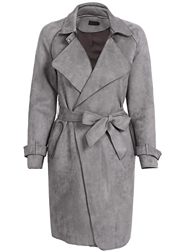 Simplee Apparel Women 's Winter solapa abrigo de gamuza Belted Long Jacket