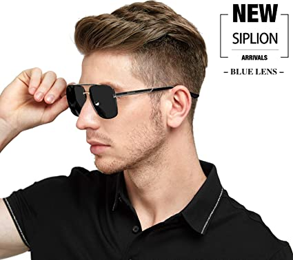 b9bbce4509c SIPLION Men s Driving Polarized Rectangular Square Sunglasses Metal Frame  1823 Black  Amazon.ca  Clothing   Accessories