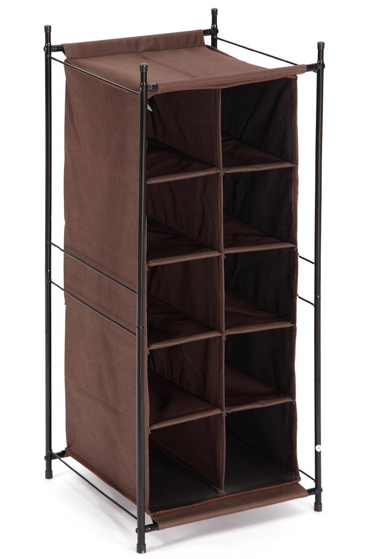 StorageManiac 5-Tier 10-Pair Shoe Cubby Organizer, Stackable Shoe Storage, 10-Compartment, Brown
