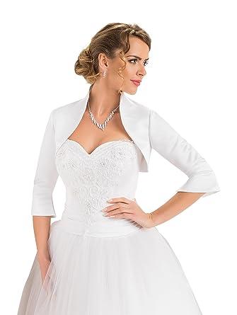 d769ccd550 Amazon.com: OssaFashion-BridalWear Wedding Satin Shrug Bridal Bolero ...