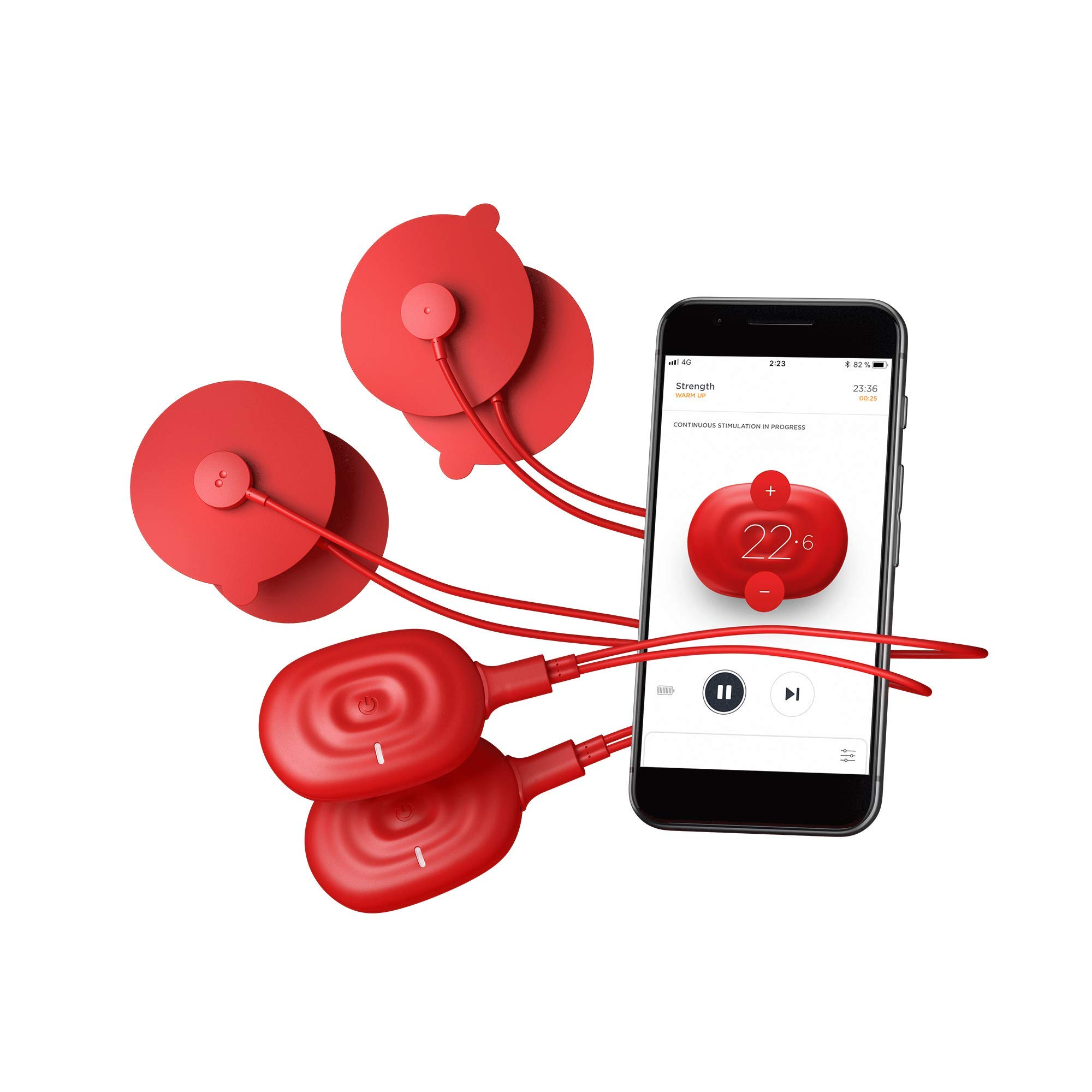 PowerDot 2.0 - Smart Electric Muscle Stimulator - Duo - Red - App Controlled Wireless Electrical Muscle Stimulator for iOS and Android - Speed up Recovery, Improve Strength, Reduce Risk of Injury by Powerdot (Image #1)