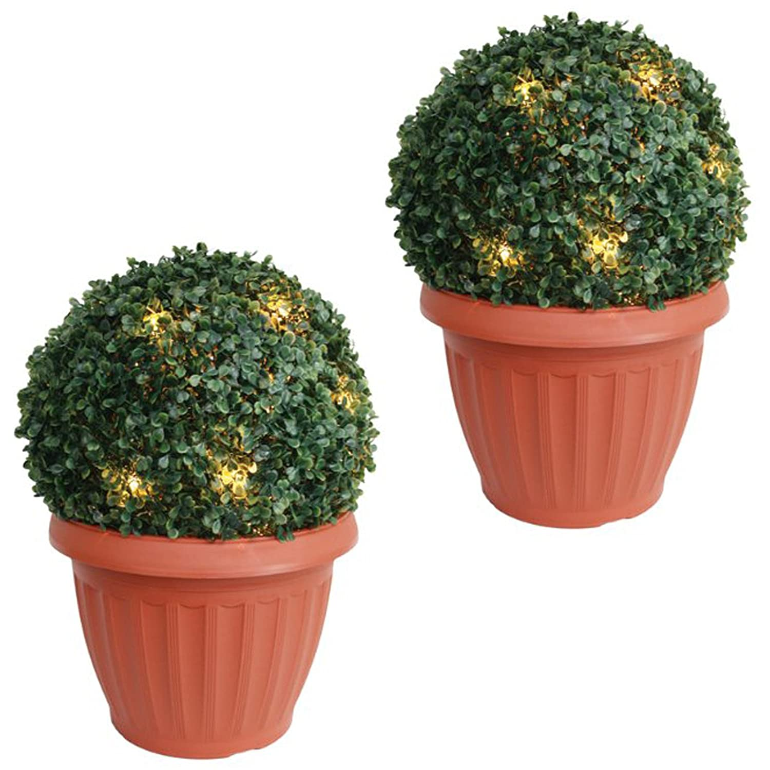 Amos 20 Led Solar Powered Artificial Boxwood Buxus Bush Topiary