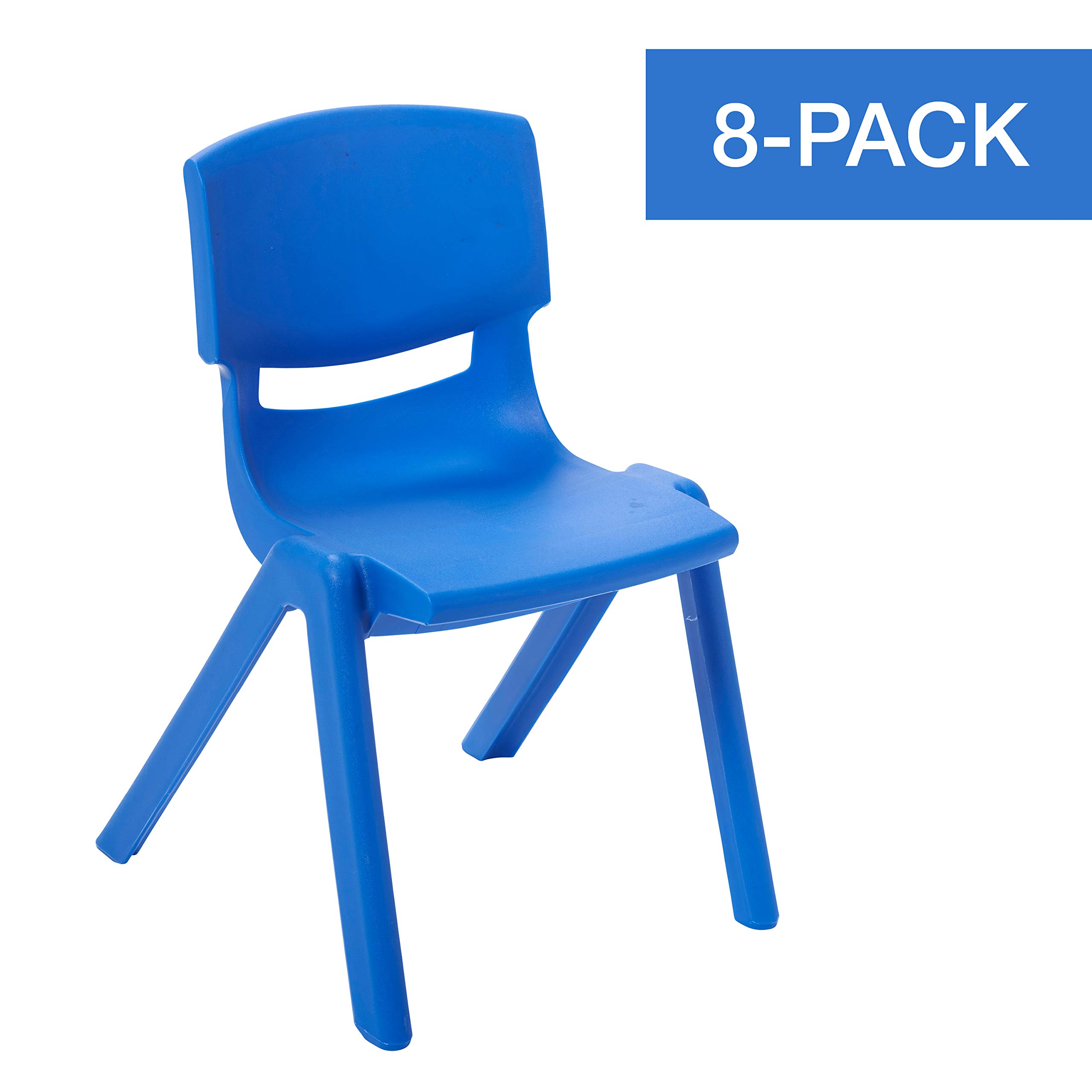 ECR4Kids 14 inch Plastic Stackable Classroom Chairs, Indoor/Outdoor Resin Stack Chairs for Kids, Blue (8-Pack)