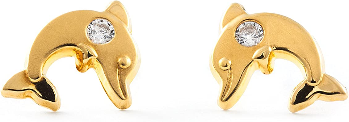 Orecchini per bambini delfino - oro giallo 9K (375): Amazon.it: Gioielli