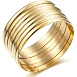Carfeny 14k Gold Plated Bangles High Polish 7 Pieces Stackable Gold Bangle Bracelets for Women, Birthday Gifts