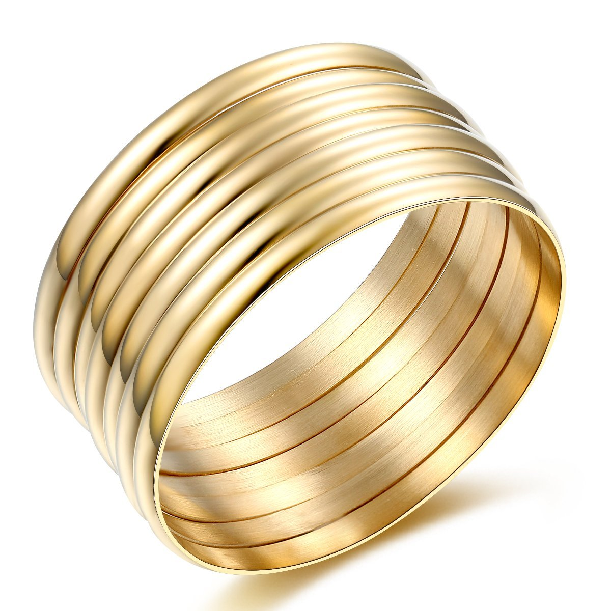 Carfeny 14k Gold Plated Bangles High Polish 7 Pieces Stackable Gold Bangle Bracelets for Women, Mother's Day Gift Birthday Gifts