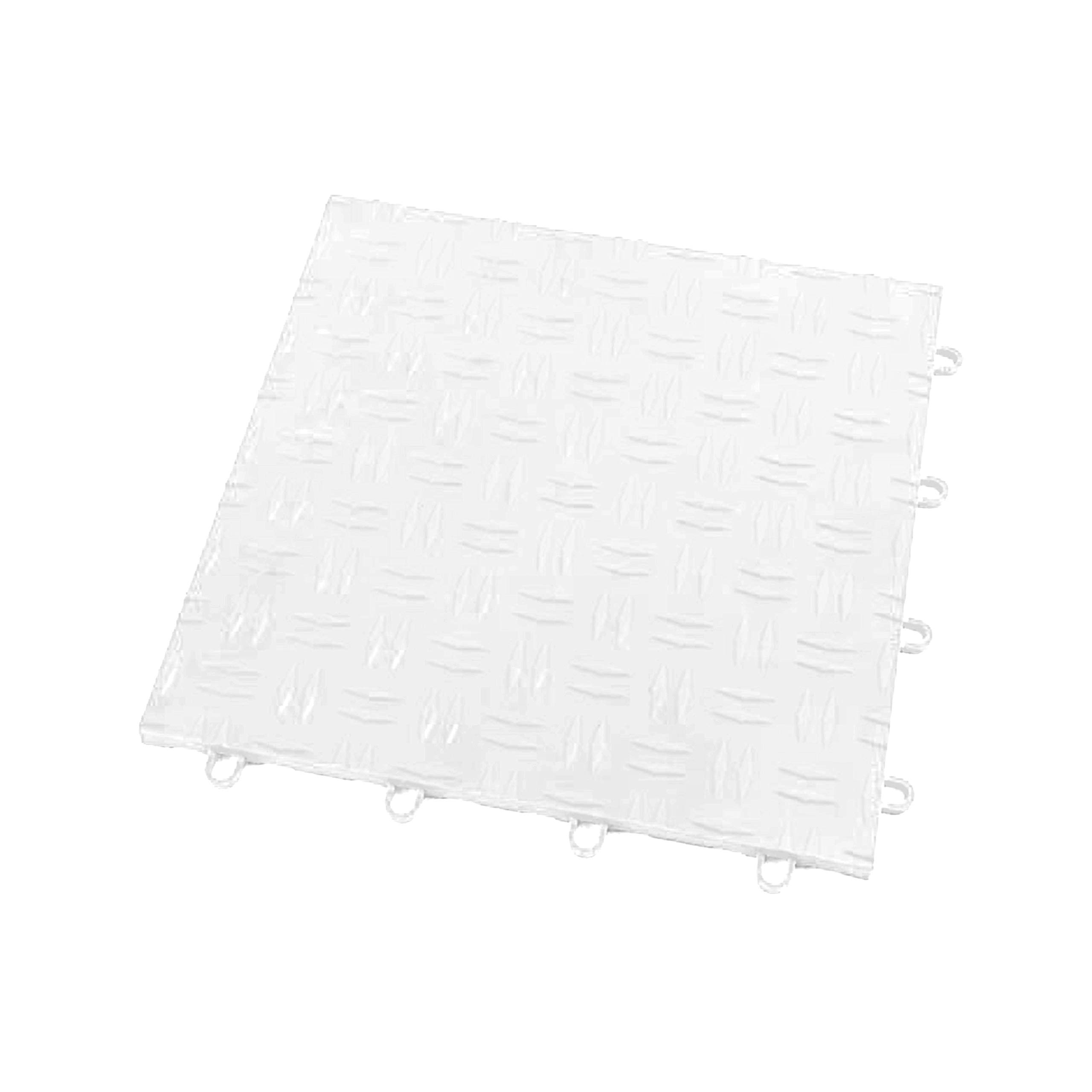 IncStores Diamond Grid-Loc Garage Flooring Snap Together Mat Drainage Tiles (48 Pack, Arctic White)