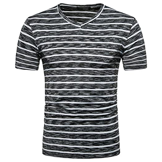 c812df3593 BSGSH Striped T Shirt for Men Color Block V Neck Short Sleeve Casual Slim  Fit Tees