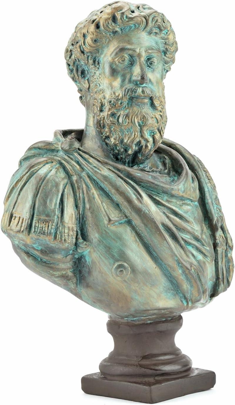 Bust Of Marcus Aurelius Roman Emperor Statue With Base Forum Traiani Bronzed Sculpture Replica Of Philosopher And Emperor Mark Aurel Arch In Äolo Museum Replicas The Roman Empire