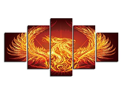 Hot Bath Fire Phoenix Canvas Wall Art Print Poster Fancy Phoenix Rising Modern Wall Pictures 5 Panel Painting Bird Animal Canvas Prints Starry