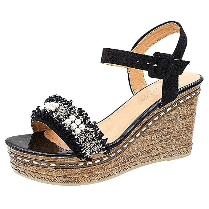 7e44ae1c964a Memela Clearance sale Women  Sandals Wedges Criss Cross Open Toe Strappy  Sandal Belt Buckle Wedge
