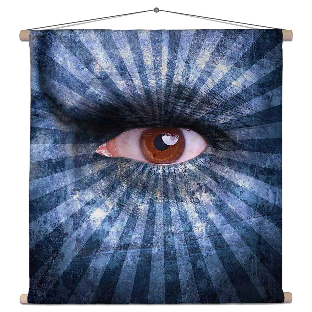 Buy Artzfolio Human Face Covered with Blue Stripes Canvas