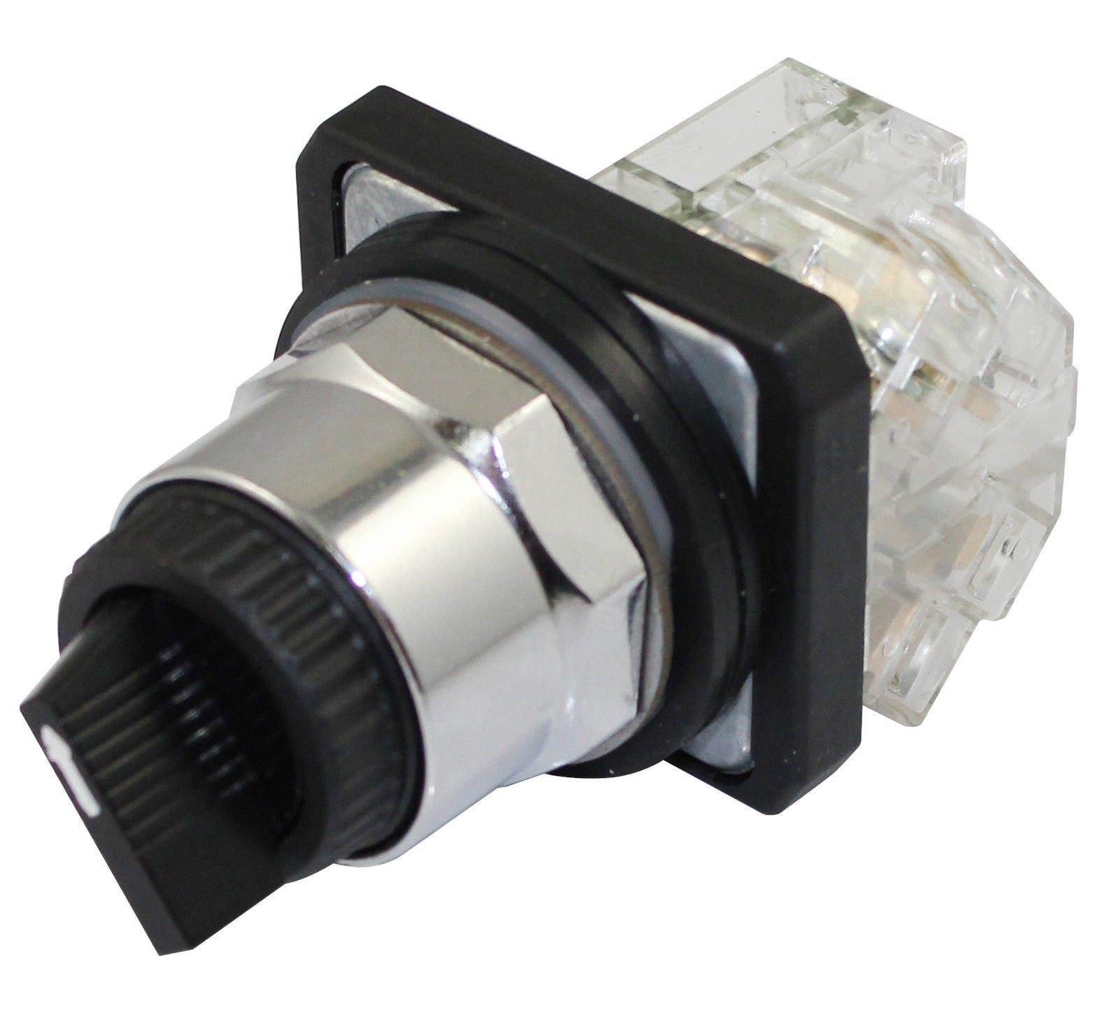 Suns International PBM30-S2ME-B-P1 PBM30 Series 2 Position 30 mm Stay Put Metal Bezel Selector Switch - 1 Item(s)