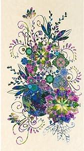 Robert Kaufman Fabrics Venice Christiane Marques Floral Panel Jewel