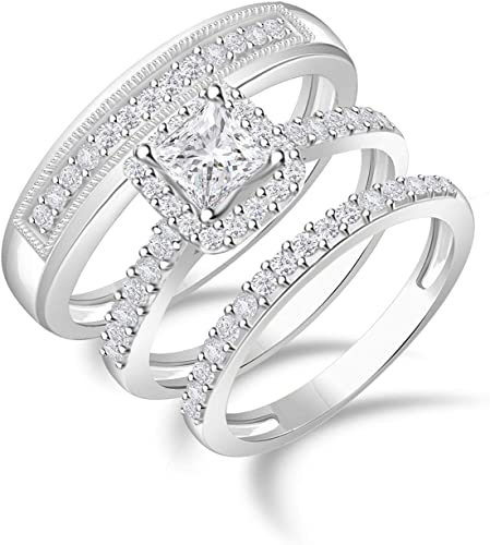 Amazon Com Diamond Scotch 1 72 Ct Cubic Zirconia His And Hers