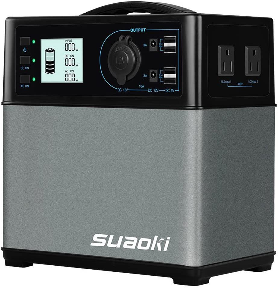 SUAOKI 400Wh 120,000mAh Portable Generator Power Station Power Supply with Quiet 300W DC AC Inverter, 12V Car, DC AC USB Outputs for Outdoors Camping Travel Fishing Hunting CPAP Trips