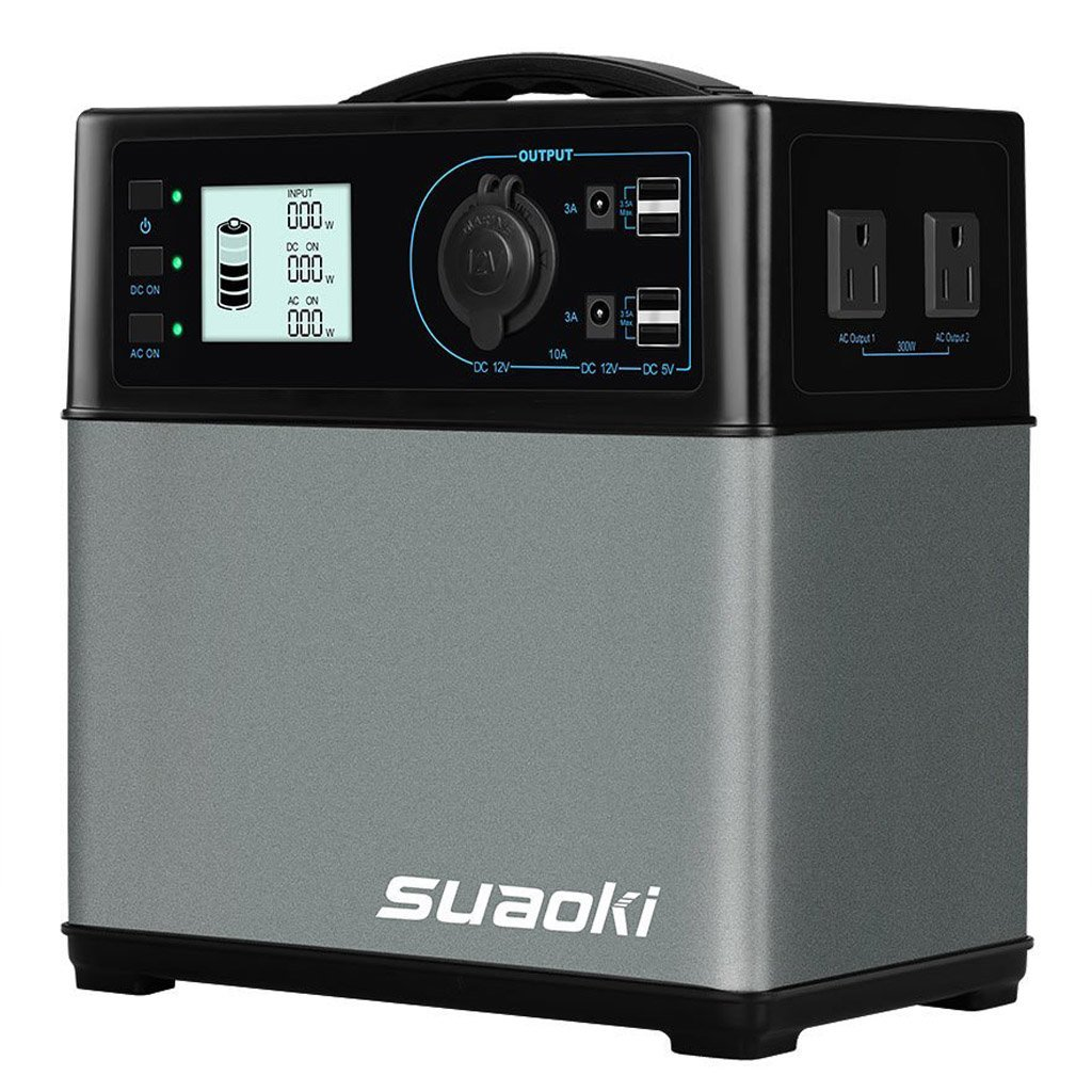 SUAOKI 400Wh/120,000mAh Portable Generator Power Station Power Supply with Quiet 300W DC/AC Inverter, 12V Car, DC/AC/USB Outputs for Outdoors Camping Travel Fishing Hunting CPAP Trips by SUAOKI