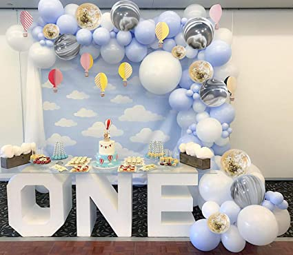 Putwo Blue And White Balloons 40 Pcs 12 Inch Baby Blue Balloons White Balloons Pack White Marble Balloons And Confetti Balloons For Boy Baby Shower