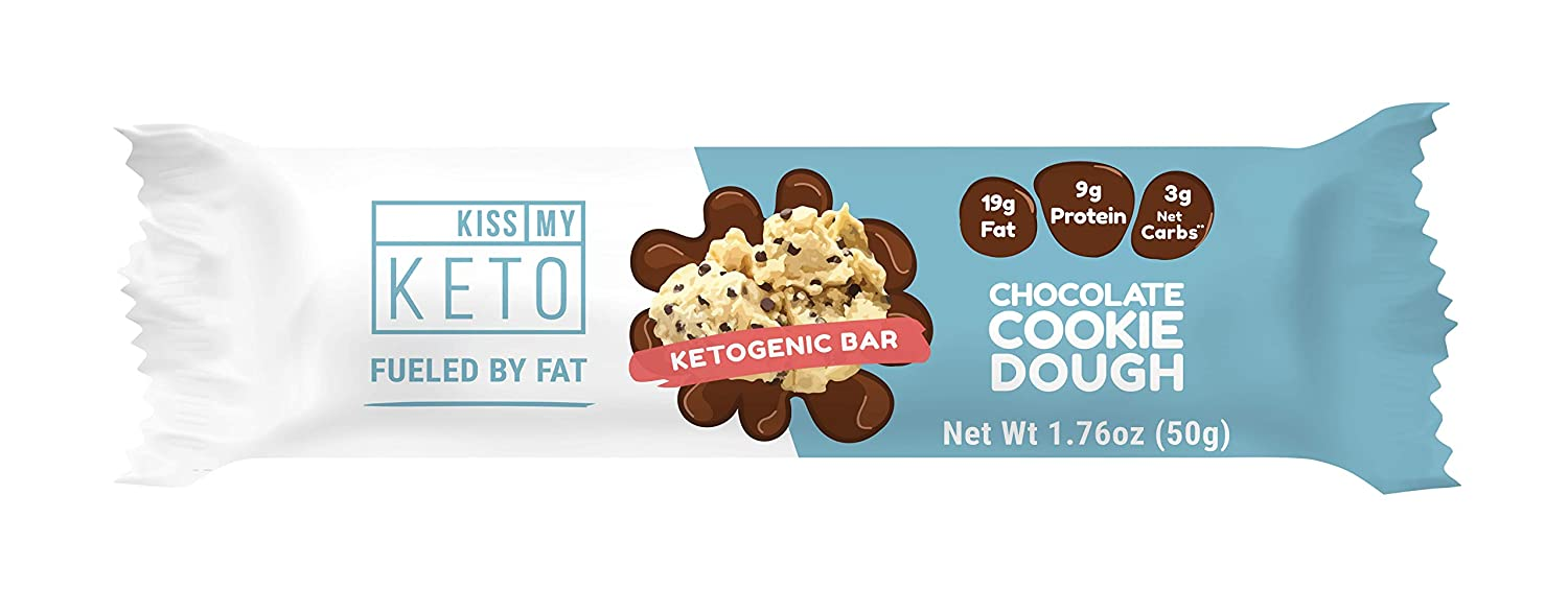 Kiss My Keto Snacks Keto Bars Keto Chocolate Cookie Dough, Nutritional Keto Food Bars, Paleo, Low Carb Glycemic Keto Friendly Foods, All Natural On-The-Go Snacks, High Quality Fat Bars, 3g Net Carbs
