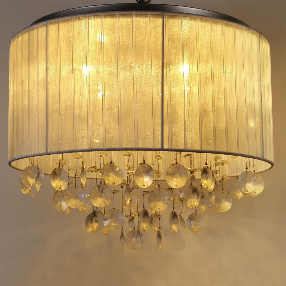 Schlafzimmer Lampe Stoff 2 #17: Runde Deckenleuchte / Deckenlampe LED Von [lux.pro]® - Modernes Design:  Aluminium, Stoff, Triton Crystal-Leuchte - 4 X G9 Sockel -: Amazon.de:  Küche U0026 ...