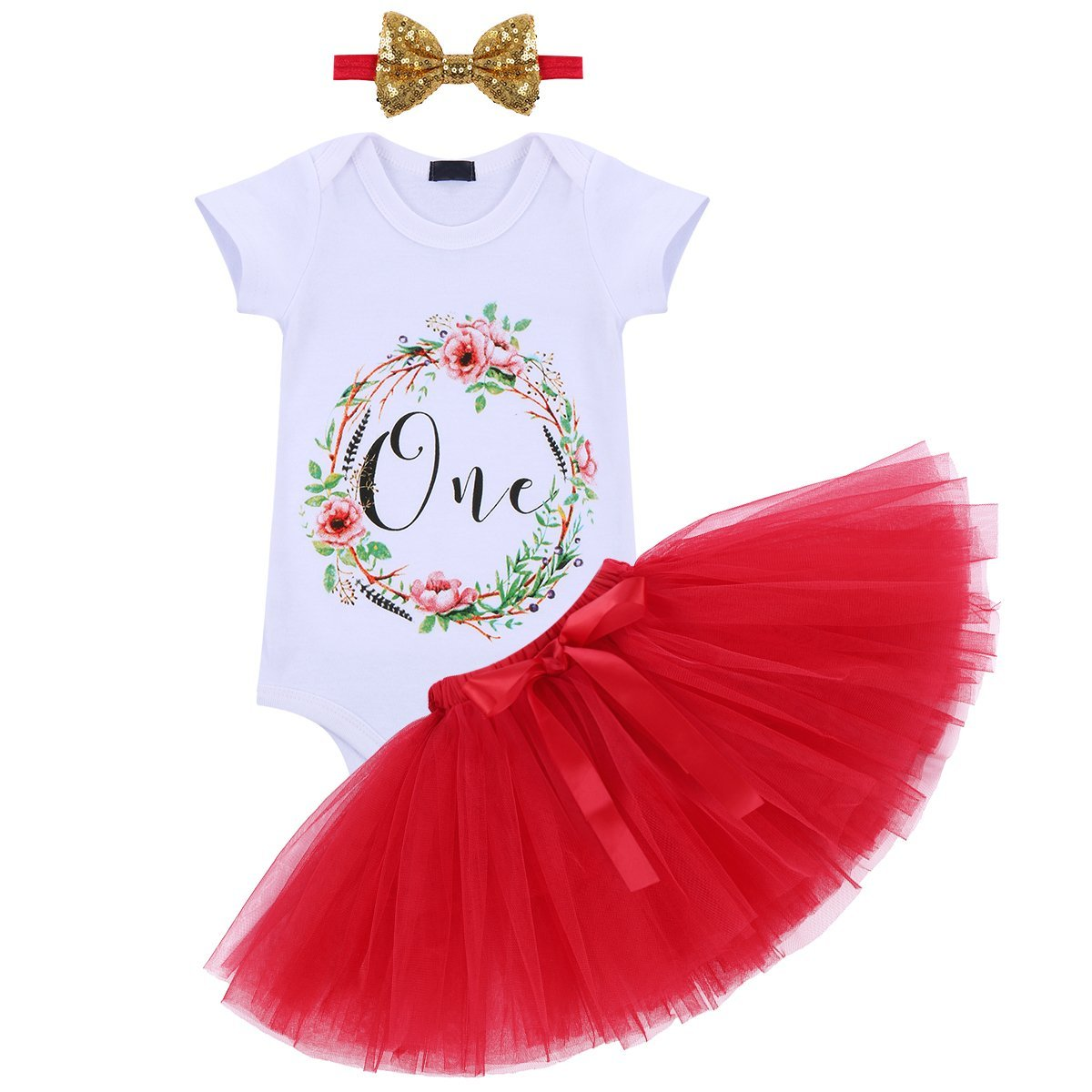 First Birthday Baby Girl Outfits Summer Flower Romper Tulle Skirt Sequin Headband 3PCS Clothes Set Cake Smash