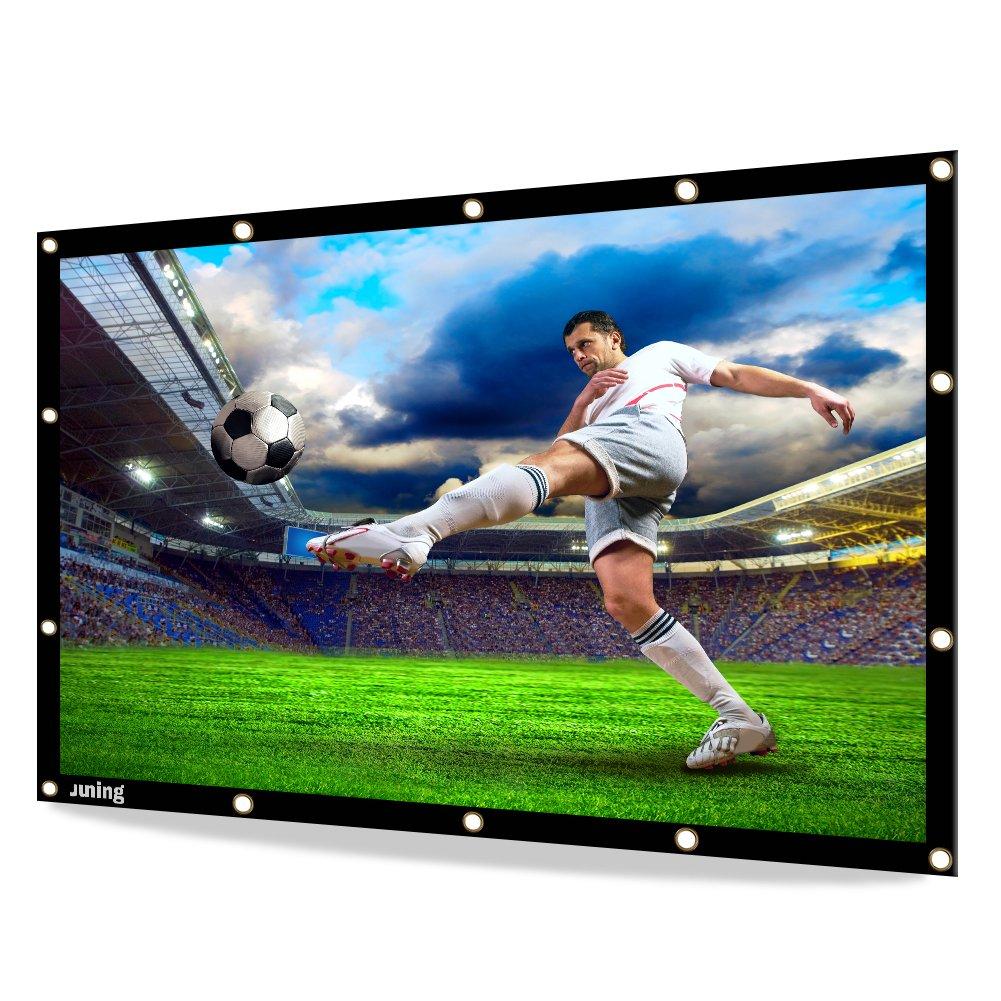 JUNING Schermo di proiezione, schermo per film esterno portatile 100 '' 16: 9 HD 3D pieghevole per cinema Home Theater Indoor Outdoor anteriore e posteriore Semplice proiezione in PVC
