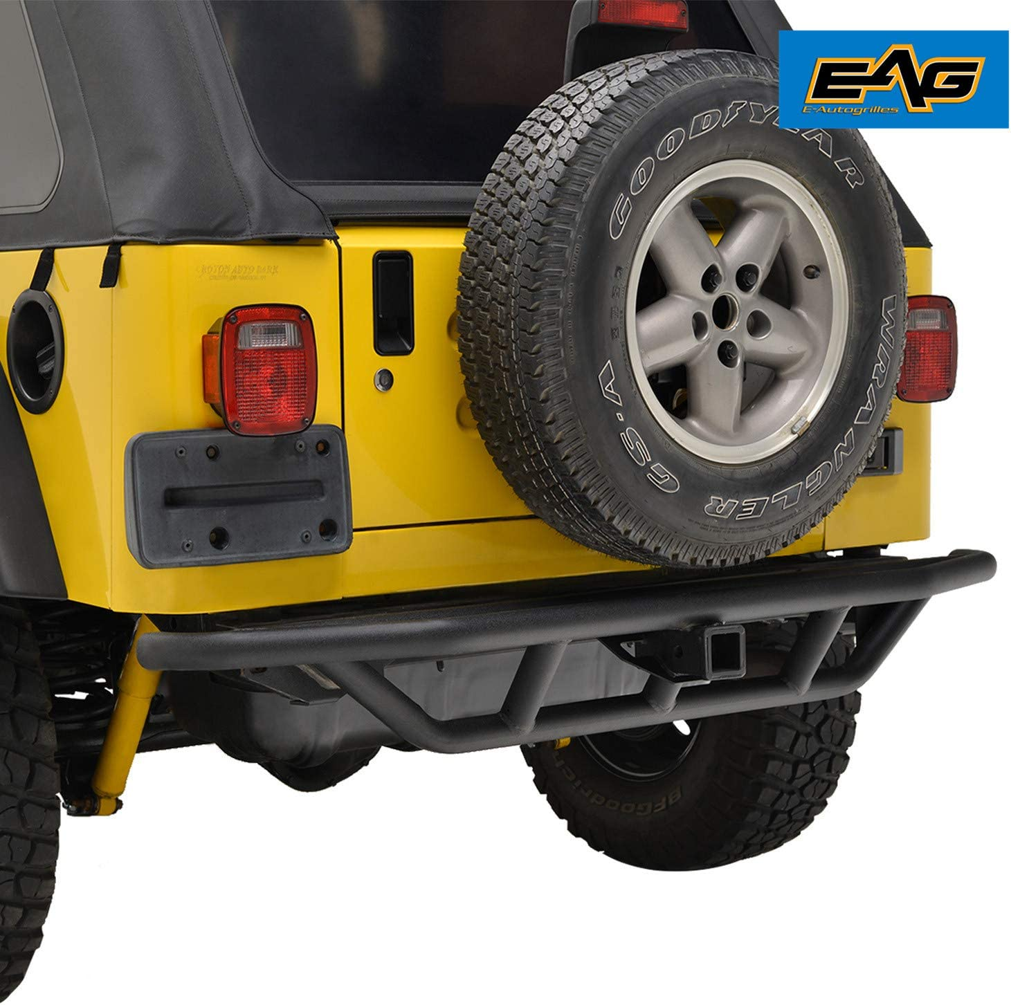 EAG Rear Bumper w//Hitch Receiver Steel Tube Fit for 87-06 Jeep Wrangler YJ//TJ