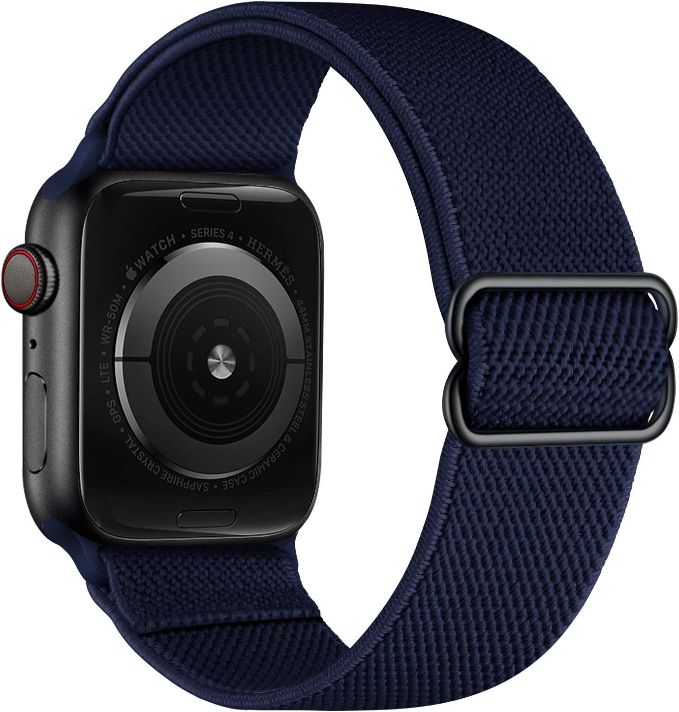 OXWALLEN Stretchy Solo Loop Compatible with Elastic Apple Watch Bands 42mm 44mm, Adjustable Braided Sport Nylon Women Men Bracelet Strap for iWatch SE Series 6/5/4/3 - Midnight Blue