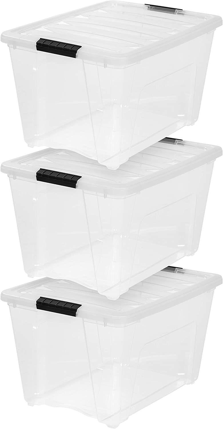 IRIS USA, TB-56D, 53 Quart Storage Tote, 3 Pack, Clear