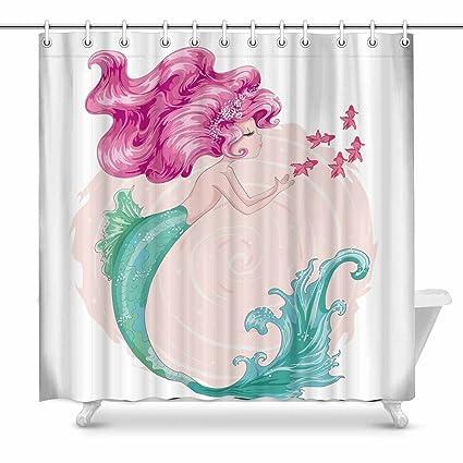 Cute Mermaid Home Bath Decor Watercolor Princess Cartoon Girl Polyester Fabric Shower Curtain Bathroom