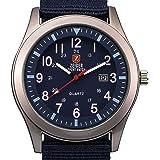Zeiger Reloj unisex cuarzo–Date Fluorescence Agujas–Army azul Canvas Nylon pulsera