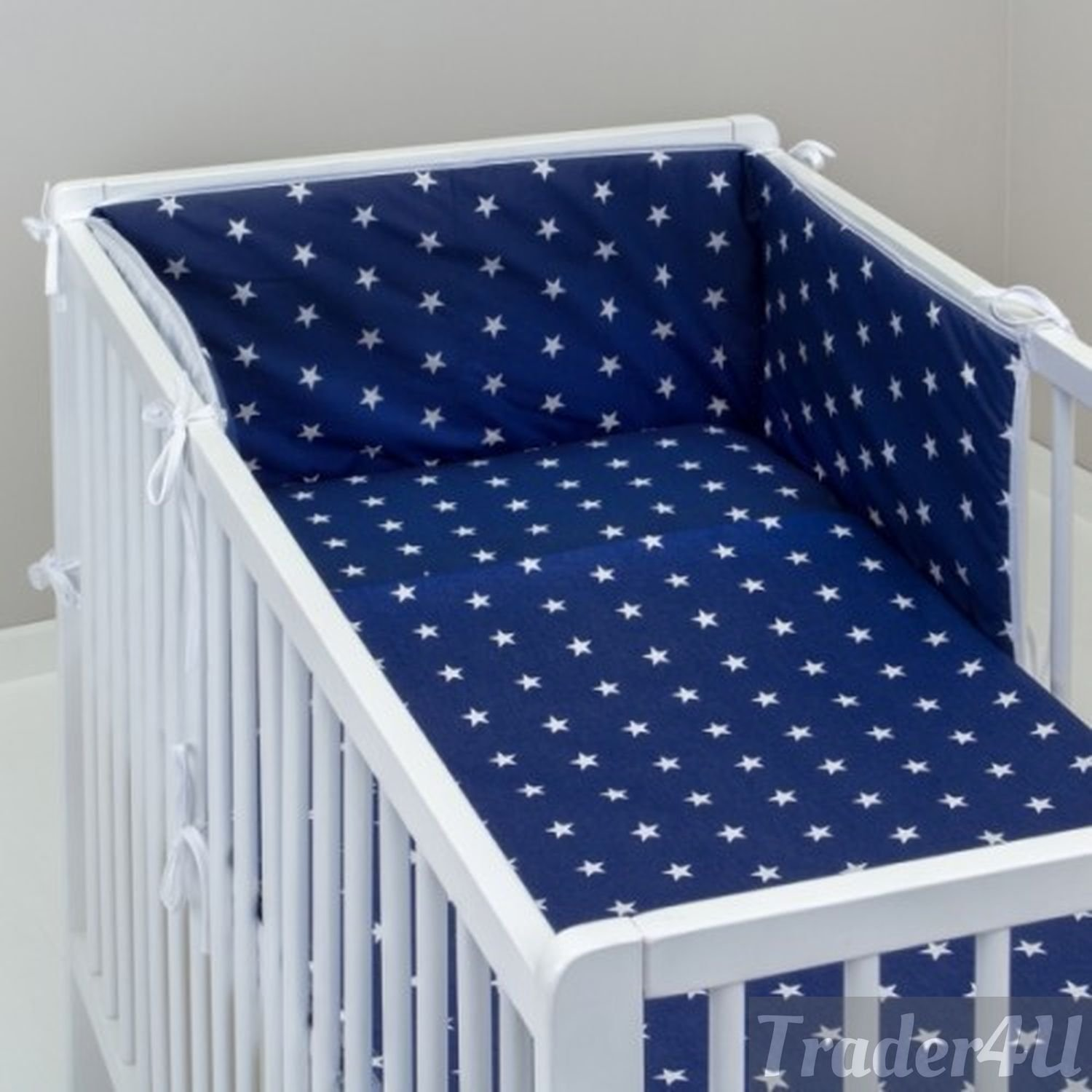 MillaLu 5 Pcs Baby Nursery Bedding Set fit to Cot 120x60cm or Cot Bed 140x70cm Padded Bumper Fit to Cot 120x60 cm, Big Stars White and Grey
