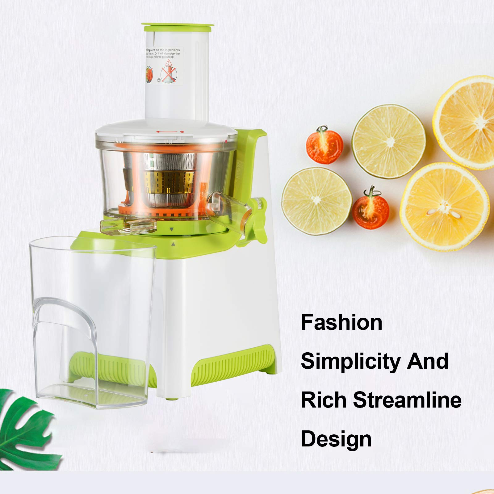 KUPPET Juicer, Slow Masticating Juicer, Higher Juicer Yield, Cold Press Juicer Machine with Quiet Motor & Reverse Function, High Nutrient Fruit & Vegetable Juice, Easy to Clean (Green&White) by KUPPET (Image #4)