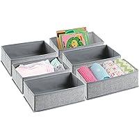mDesign Soft Fabric Dresser Drawer and Closet Storage Organizer Set for Child/Baby Room Nursery Playroom Bedroom…