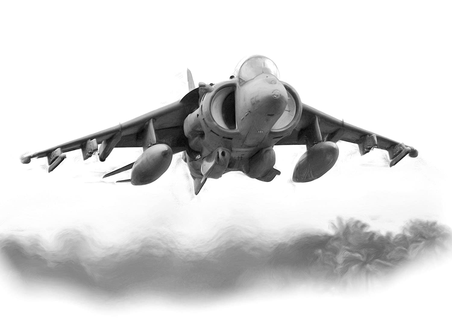 Harrier Jump Jet Drawing Print Picture. MO-T-VATIONAL