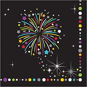 Creative Converting Paper Beverage Napkins, Fireworks Celebration Sparkle, 16-Count