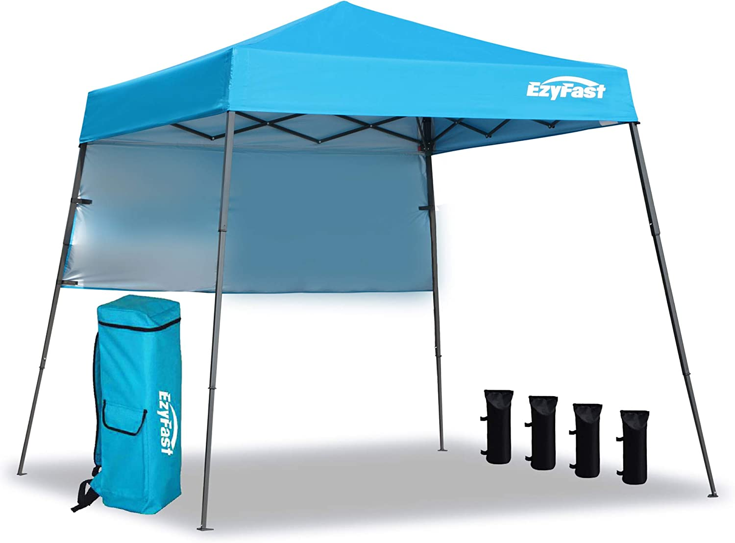 EzyFast Ultra Compact Backpack Canopy, Pop Up Shelter, Portable Sports Cabana, 7.5 x 7.5 ft base / 6 x 6 ft top for Hiking, Camping, Fishing, Picnic, Family Outings