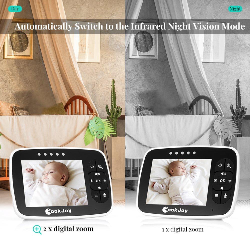 Baby Monitor Wireless da 2.4GHz con Visione Notturna Monitoraggio della Temperatura,Fotocamera Video Digitale e 2 vie Citofono Sistema con 3.5 inch LCD screen colorata