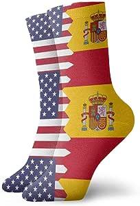 Harry wang Novedad Bandera de España Americana Calcetines deportivos coloridos y frescos Medias atléticas para hombres, mujeres, 8.5x30 cm: Amazon.es: Salud y cuidado personal