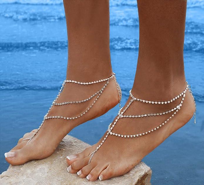 41868b8773c62 Bienvenu 2pcs Crystal Anklets for Beach Barefoot Sandals Wedding Vacation