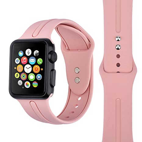 Correa de silicona para Apple Watch KZKR Correa de silicona para reloj Band 38mm Silicone Man