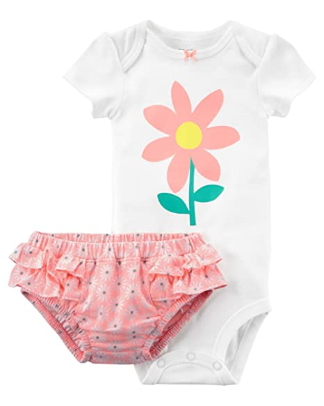 97ce7c4f Amazon.com: Carter's Baby Girls 2 pc Flower Bodysuit Coordinating Diaper  Cover Flowers & Ruffles (3M): Clothing