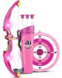 Bow and Arrow Set for Kids Outdoor Play Toy Princess Basic Archery with 3 Suction Cup Arrows, LED Light Up Bow, Target and Quiver, Pink