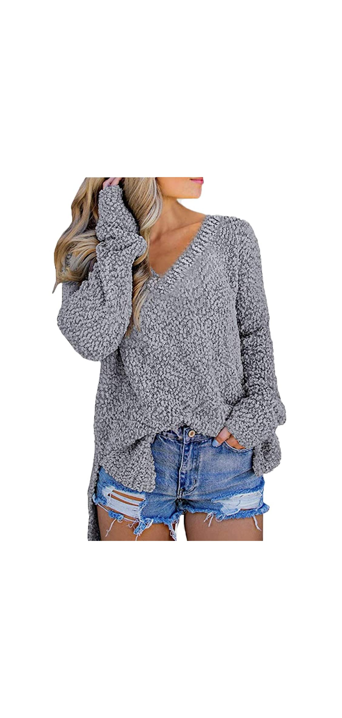Womens Long Sleeve Popcorn V Neck Chunky Knit Pullover